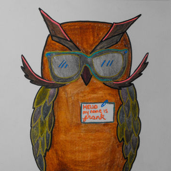 Mixed media, Drawing,Owl, Hipster, Bird, Original, Paper, Small, Watercolour, Metallic, Sketch, Orange, Artwork, Teal, Red