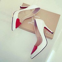 Christian Louboutin Fashion Heart Pointed Toe Heels Shoes