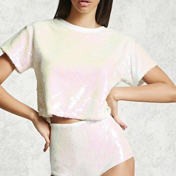 Sequin High-Waisted Boyshorts