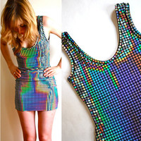 Disco Ball Mini Dress xs s m by HereandThereVintage on Etsy