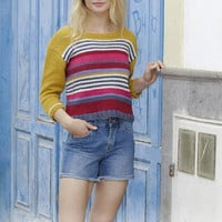 Rainbow sweater handknit colorful sweater stripes summer sweater crop top cotton pink mustard purple red blue sweater pullover jumper Lilith