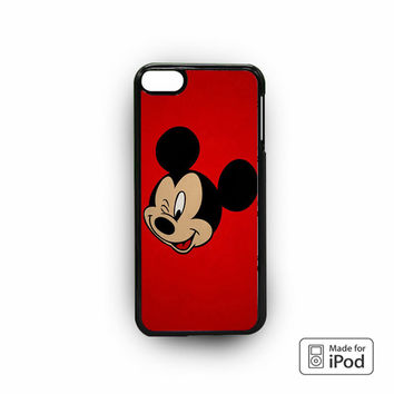 Mickey Mouse Red Background Wallpaper for iPod 6 apple cases