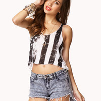 Rustic American Flag Cropped Tank