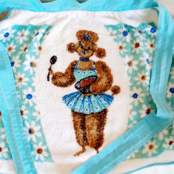 Terry Cloth Poodle Apron- Vintage Half Apron- Anthropomorphic Dog With Mixing Bowl- Blue Floral