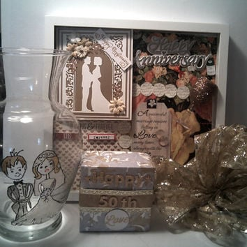 HAPPY 50TH ANNIVERSARY Picture Frame Golden Anniversary Shadow Box with Wedding Couple Glass Vase And 50th Anniversary Gift Box Great Gift