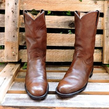 Vintage Justin boots mens 6 B / Womens 8 /  Justin cowboy ropers / brown leather western boots