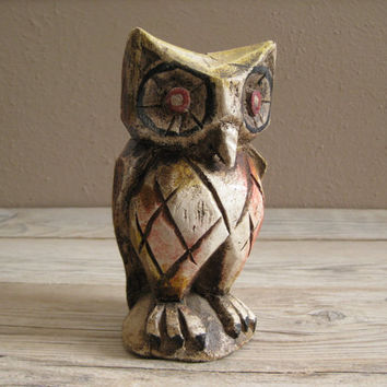 vintage owl hand carved wood figurine by TejasVintage on Etsy