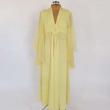 intage 1960's 70's Yellow Maxi Dress Festival Hippie Butterfly Sleeves Fairy Batwing Sleeve Gown Renaissance Queen Medieval 1970s Prom Dress