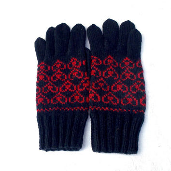 Hand knitted wool gloves patterned red black arm warmers knit latvian gloves knitting winter gloves with fingers handmade men's accessories
