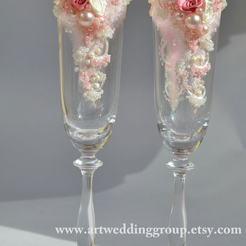 Personalized wedding flutes Wedding champagne glasses Champagne flûtes Pink Dreams for wedding ceremony Idyll Wedding Glasses Rose!