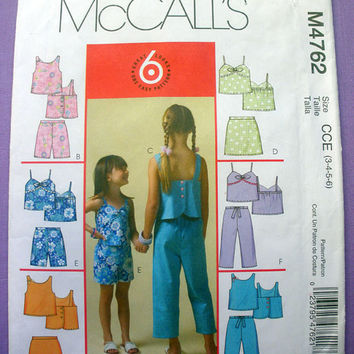 Toddler Girls' Tops, Skorts, Shorts and Capri Pants Child Size 3, 4, 5, 6 McCall's 4762 Sewing Pattern Uncut