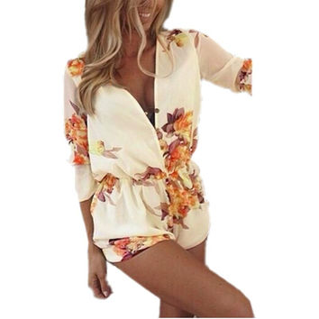 Women Spring Summer Short Jumpsuits Flower Printing Playsuit Floral Printed Rompers Bodysuit Overall Plus Size