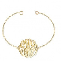 Personalized Initials Bracelet Sterling Silver w/ 24K Gold Overlay