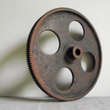 Cast Iron Gear | Industrial Wheel | Fine Tooth Gear Wheel | Antique Machinery Salvage | Steampunk Industrial Decor | Vintage Supply