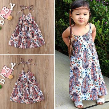 Boutique Newborn Kids Baby Girl Floral Boho Dress Sundress Beach Dress Summer US