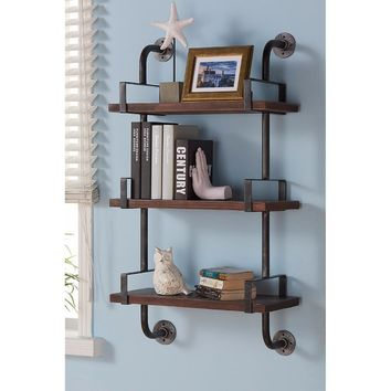 """40"""" Booker Industrial Pine Wood Floating Wall Shelf In Gray And Walnut-Armen Living"""