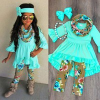 Cute Toddler Kids Baby Girls Flower Top Dress Pants Leggings Outfits Clothes USA