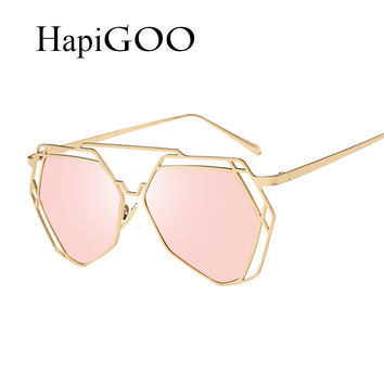 HapiGOO Women Geometry Cat Eye Steampunk Sunglasses New Fashion Brand Designer Twin-Beams Metal Frame Mirror Sun Glasses UV400