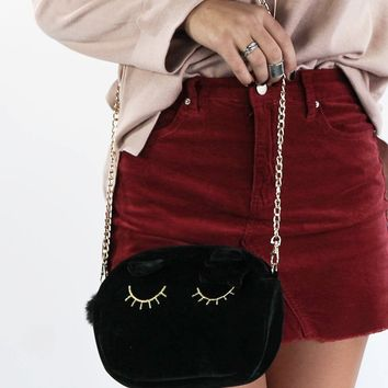 Close Your Eyes Black Velvet Clutch