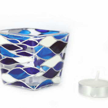 Hand Painted Glass  Candle Holder Tea light   mini candle holder  White  cobalt  blue waves  contemporary abstract design