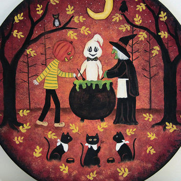 Black Cats Ready for Dinner, Halloween Folk Art Wood Plate, READY TO SHIP, Primitive Painting, Witch, Ghost, Pumpkinhead Cooking Dinner