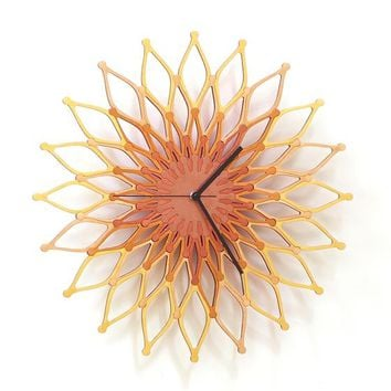 Flames II - large stylish sunburst clock Made On Hatch.co by ardeola