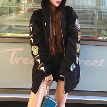 ICIK6HW OFF-WHITE' Women Fashion Casual Back Print Badge Embroidery Zip Cardigan Long Sleeve Hooded Sweater Coat