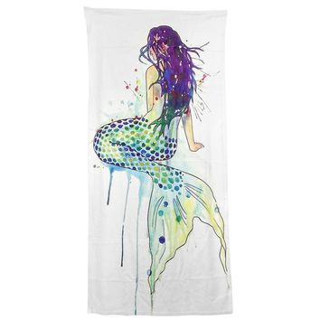 Modern Design Polyester Beach Bath Towel Funny Beautiful Turned the mermaid back 27 x 54 Inch Face towel Hand towel