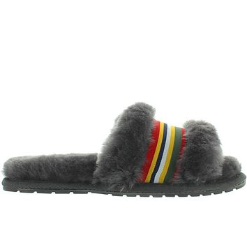 EMU Wrenlette - Charcoal Furry Stripe Ribbon Slide Slipper