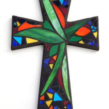 "Large Mosaic Wall Cross, Abstract Floral Design, ""Tropical Garden"", Multicolored/Bright Handmade Stained Glass Mosaic 15"" x 10"""