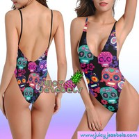 SKULL FUNK Sexy Rave Outfit Rave Bodysuit Women Colorful Psychedelic Festival Clothing Rave Clothing Thong Bodysuit Festival Bodysuit EDM