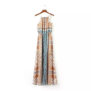 Summer Vintage Print Shaped One Piece Dress [5013187460]