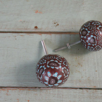 Turquoise Flowers Drawer Pull, Set of Two Knobs