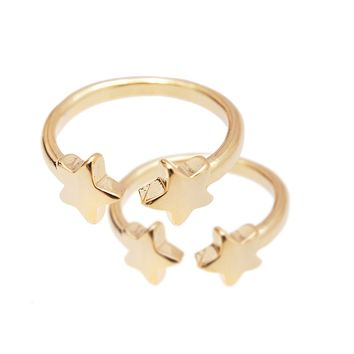 Adjustable Double Star Midi Fashion Ring Set of 2