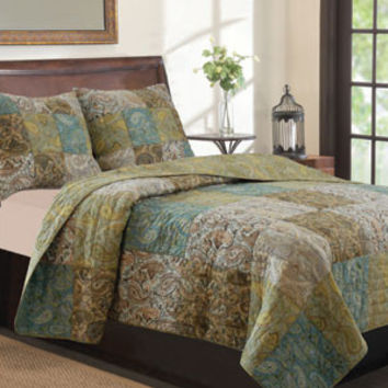 Vintage Paisley Print Bedding Quilt Set Full/Queen/King 3 Piece Quilt Bed Set - Free Shipping