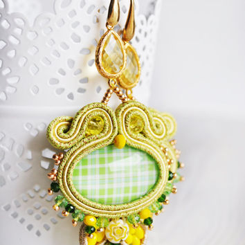 Soutache earrings, beaded earrings, yellow green earrings, beaded soutache, embroidery earrings, long  earrings, soutache jewelry, OOAK gift
