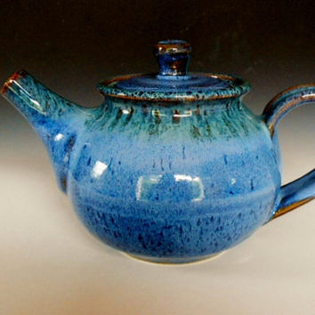 Personal Teapot Blue and Green Glaze by darshanpottery on Etsy