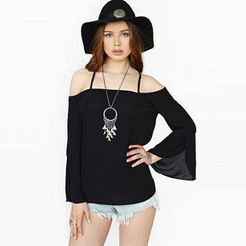 Black Trumpet-Sleeve Strappy Chiffon Blouse
