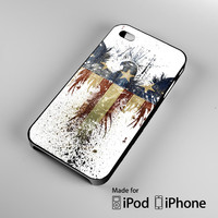 New American Eagle Flag Paint Watercolor A1448 iPhone 4S 5S 5C 6 6Plus, iPod 4 5, LG G2 G3, Sony Z2 Case