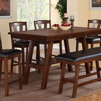 Poundex F2273-1333-1334 6 pc montana collection dark walnut finish wood counter height dining table set with padded seats