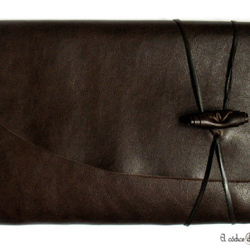 Brown Leather Journal or Sketchbook. Large. A5 size. MEDITATIO.