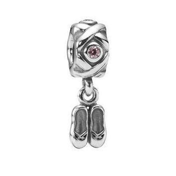 Authentic Pandora S925 Sterling Silver Ballet Slippers Retired Charm Bead w/ Box Free