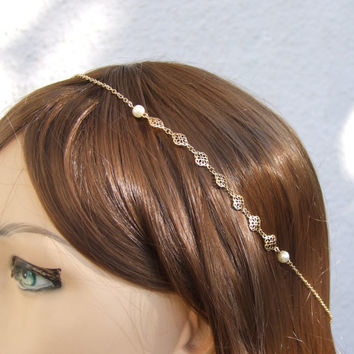 Gold Hair Chain, Bridal Halo, Wedding hair Piece, Hair accessories, Hair Fascinator, Greece Goddess