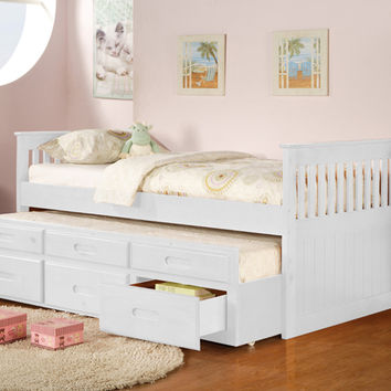 Asia Direct 8420-WH Captains collection mission style white finish wood twin size storage trundle bed