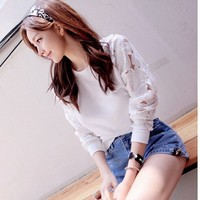 Casual Blouse Hollow Cutout Sleeves Sweater Longa- Sleeve Cotton T Shirt