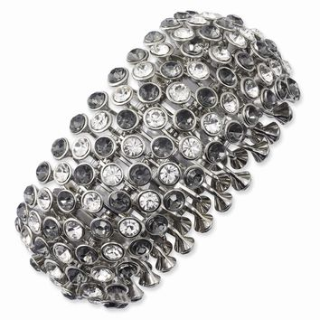 Silver-tone Clear and Black Crystals and Acrylic Stones Stretch Bracelet