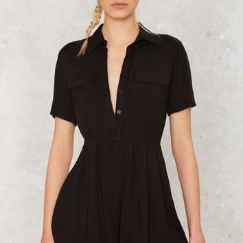 Collar Back Girl Button-Up Romper