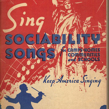 Vintage Sing Sociability Songs Paperback Song Book for Camps, School, Home