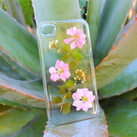 Dried Flower iPhone 4 4s Case - Pink Flower iPhone 5 5s  - Pressed Flower iPhone 5c Case - Floral iPhone 6 case - Clear iPhone 6 Plus Case