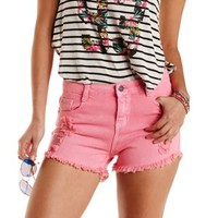 Colored Cut-Off High-Waisted Denim Shorts